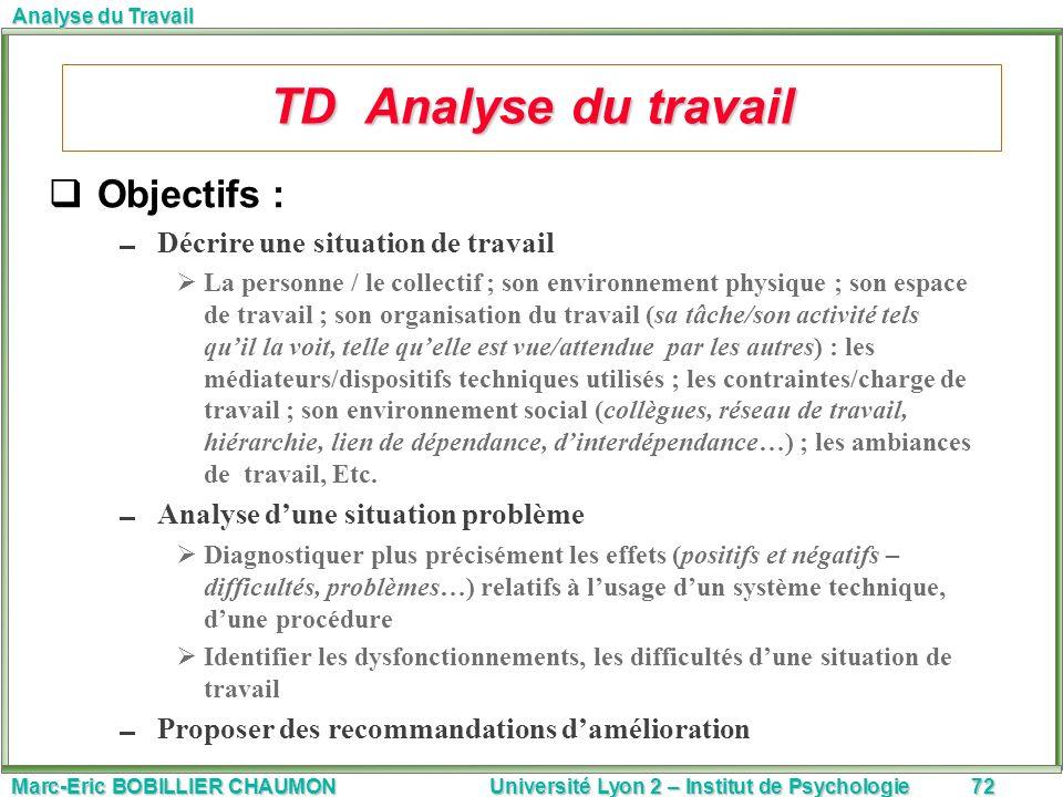 Marc-Eric BOBILLIER CHAUMON Université Lyon 2 – Institut de Psychologie72 Analyse du Travail TD Analyse du travail Objectifs : Décrire une situation d