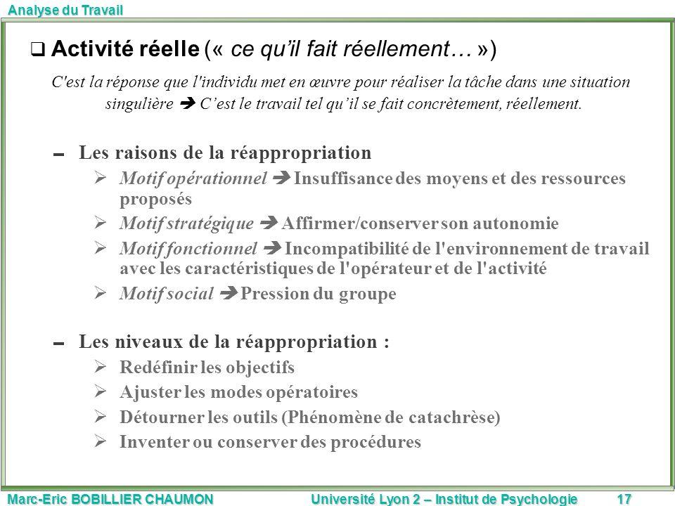 Marc-Eric BOBILLIER CHAUMON Université Lyon 2 – Institut de Psychologie17 Analyse du Travail Activité réelle (« ce quil fait réellement… ») C'est la r