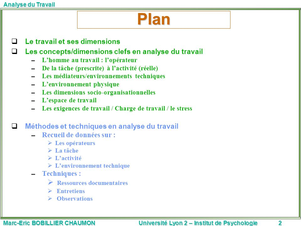 Marc-Eric BOBILLIER CHAUMON Université Lyon 2 – Institut de Psychologie2 Analyse du Travail Plan Le travail et ses dimensions Les concepts/dimensions