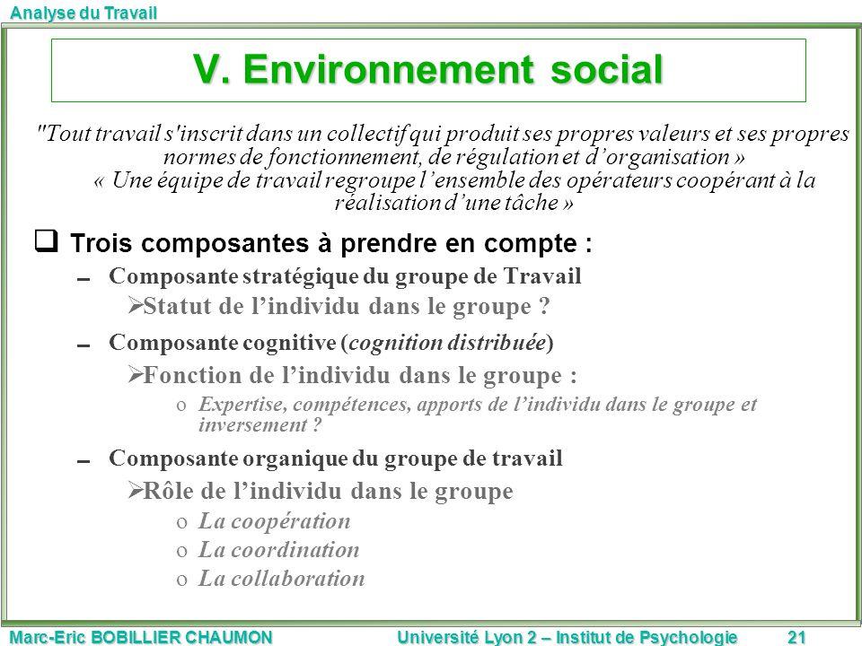 Marc-Eric BOBILLIER CHAUMON Université Lyon 2 – Institut de Psychologie21 Analyse du Travail V. Environnement social