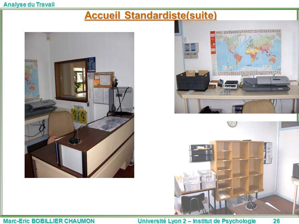 Marc-Eric BOBILLIER CHAUMON Université Lyon 2 – Institut de Psychologie26 Analyse du Travail Accueil Standardiste(suite)