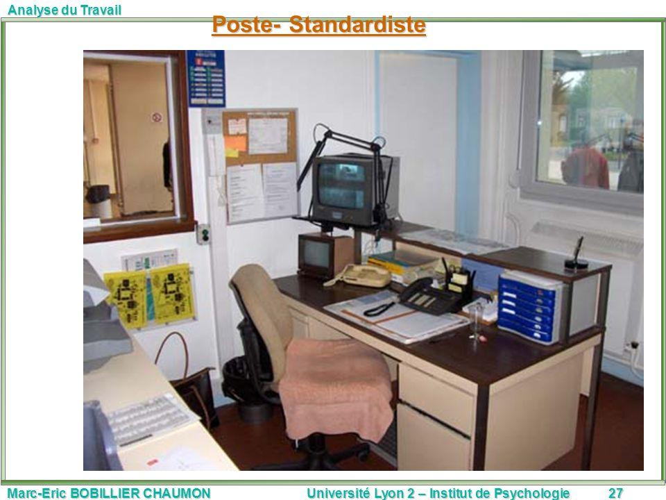 Marc-Eric BOBILLIER CHAUMON Université Lyon 2 – Institut de Psychologie27 Analyse du Travail Poste- Standardiste