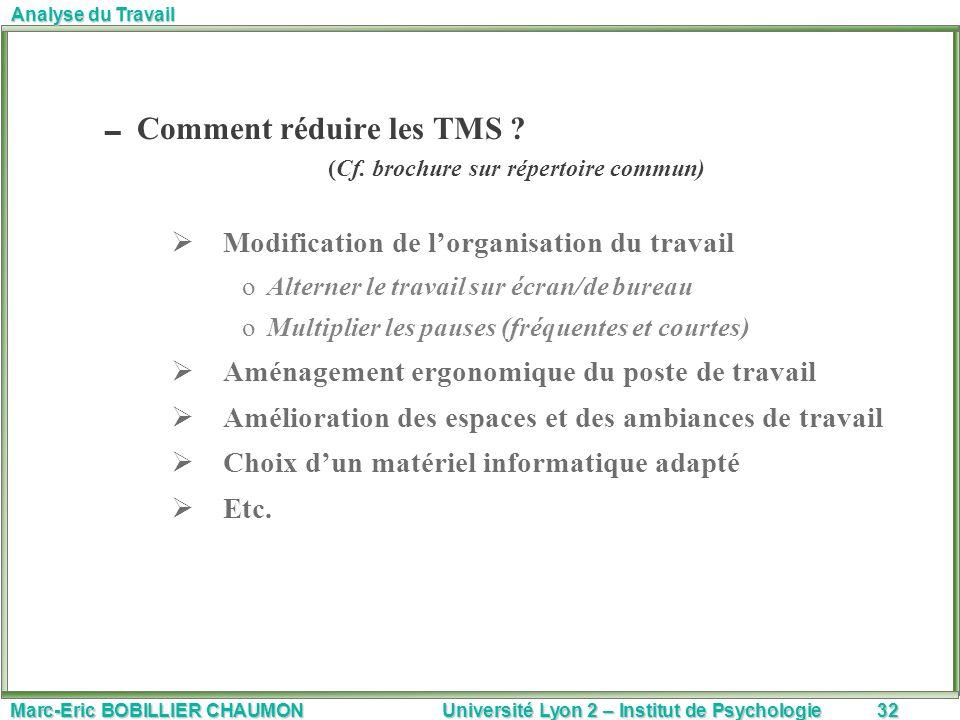 Marc-Eric BOBILLIER CHAUMON Université Lyon 2 – Institut de Psychologie32 Analyse du Travail Comment réduire les TMS ? (Cf. brochure sur répertoire co