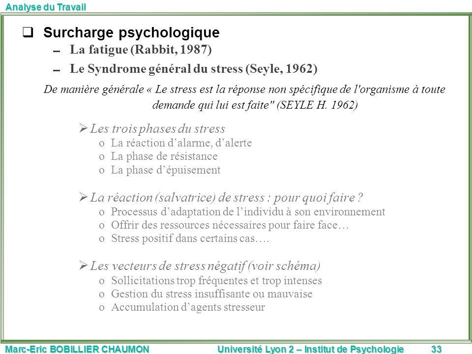 Marc-Eric BOBILLIER CHAUMON Université Lyon 2 – Institut de Psychologie33 Analyse du Travail Surcharge psychologique La fatigue (Rabbit, 1987) Le Synd