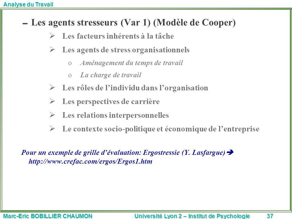 Marc-Eric BOBILLIER CHAUMON Université Lyon 2 – Institut de Psychologie37 Analyse du Travail Les agents stresseurs (Var 1) (Modèle de Cooper) Les fact