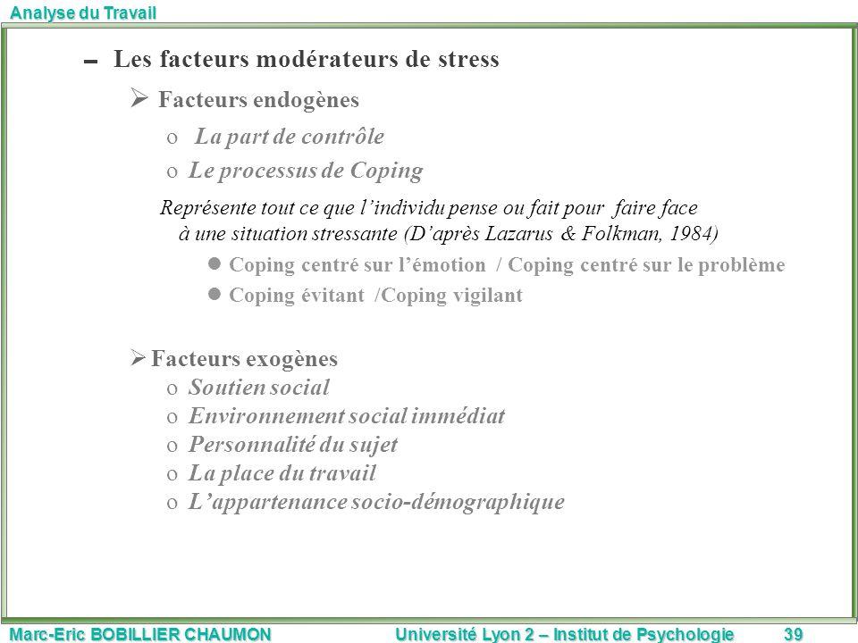 Marc-Eric BOBILLIER CHAUMON Université Lyon 2 – Institut de Psychologie39 Analyse du Travail Les facteurs modérateurs de stress Facteurs endogènes o L