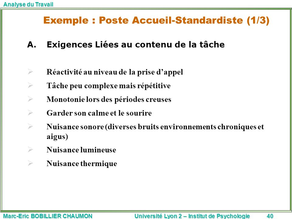 Marc-Eric BOBILLIER CHAUMON Université Lyon 2 – Institut de Psychologie40 Analyse du Travail A.Exigences Liées au contenu de la tâche Réactivité au ni