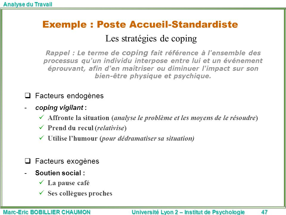 Marc-Eric BOBILLIER CHAUMON Université Lyon 2 – Institut de Psychologie47 Analyse du Travail Rappel : Le terme de coping fait référence à l'ensemble d