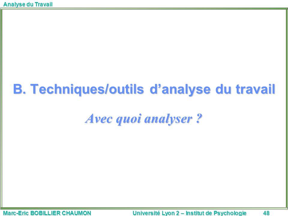 Marc-Eric BOBILLIER CHAUMON Université Lyon 2 – Institut de Psychologie48 Analyse du Travail B. Techniques/outils danalyse du travail Avec quoi analys