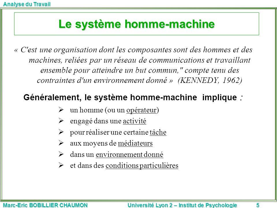 Marc-Eric BOBILLIER CHAUMON Université Lyon 2 – Institut de Psychologie5 Analyse du Travail Le système homme-machine « C'est une organisation dont les