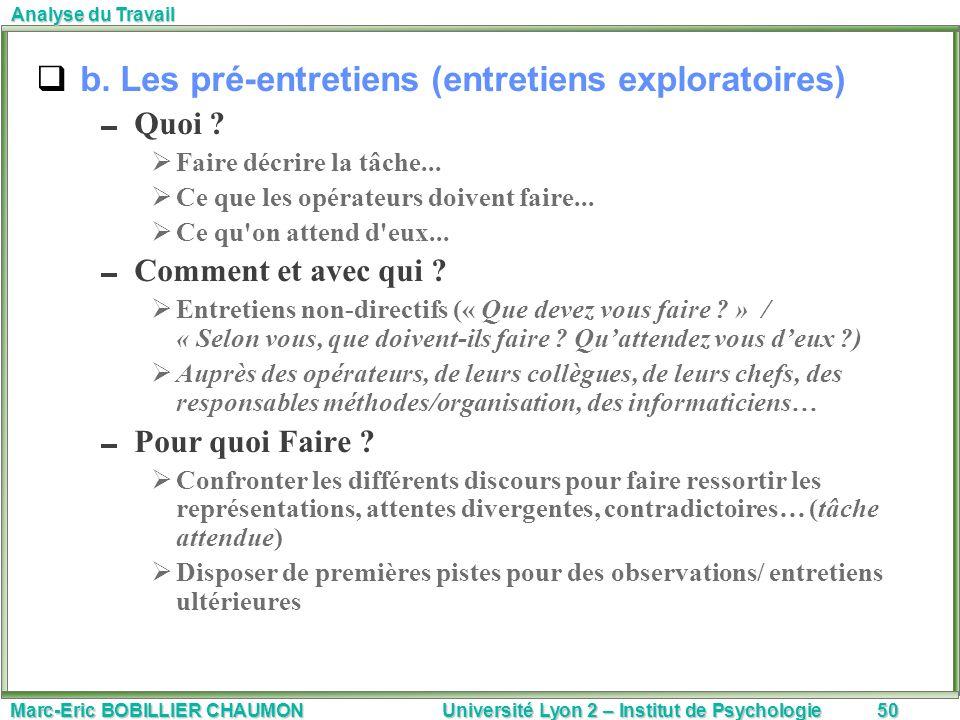 Marc-Eric BOBILLIER CHAUMON Université Lyon 2 – Institut de Psychologie50 Analyse du Travail b. Les pré-entretiens (entretiens exploratoires) Quoi ? F