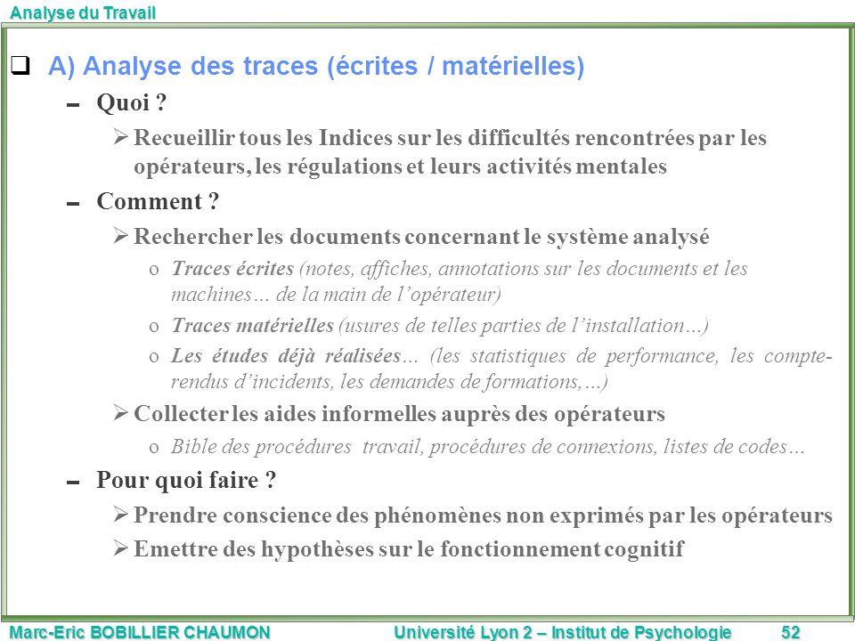Marc-Eric BOBILLIER CHAUMON Université Lyon 2 – Institut de Psychologie52 Analyse du Travail A) Analyse des traces (écrites / matérielles) Quoi ? Recu
