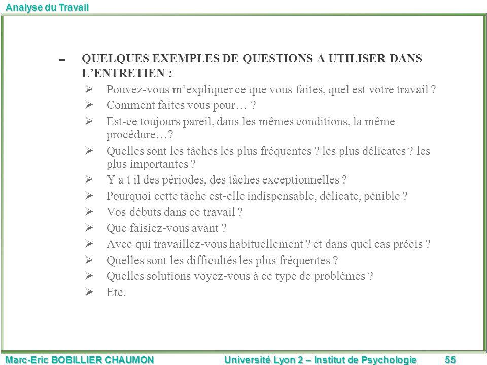 Marc-Eric BOBILLIER CHAUMON Université Lyon 2 – Institut de Psychologie55 Analyse du Travail QUELQUES EXEMPLES DE QUESTIONS A UTILISER DANS LENTRETIEN