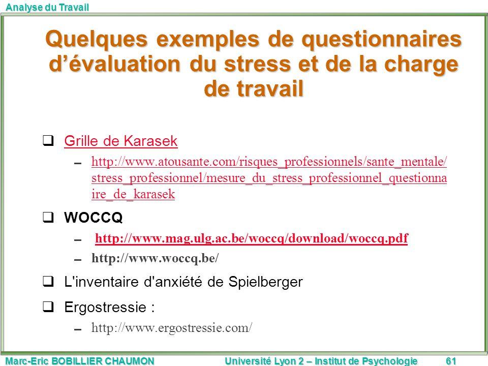 Marc-Eric BOBILLIER CHAUMON Université Lyon 2 – Institut de Psychologie61 Analyse du Travail Grille de Karasek http://www.atousante.com/risques_profes