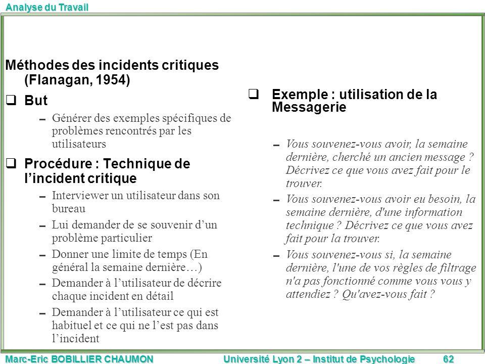 Marc-Eric BOBILLIER CHAUMON Université Lyon 2 – Institut de Psychologie62 Analyse du Travail Méthodes des incidents critiques (Flanagan, 1954) But Gén