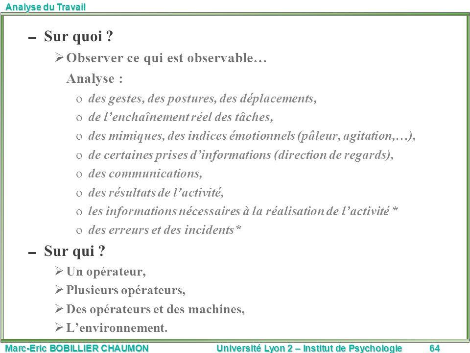 Marc-Eric BOBILLIER CHAUMON Université Lyon 2 – Institut de Psychologie64 Analyse du Travail Sur quoi ? Observer ce qui est observable… Analyse : odes