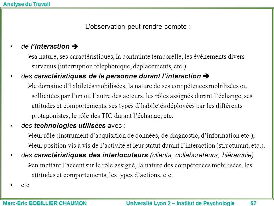 Marc-Eric BOBILLIER CHAUMON Université Lyon 2 – Institut de Psychologie67 Analyse du Travail Lobservation peut rendre compte : de linteraction sa natu