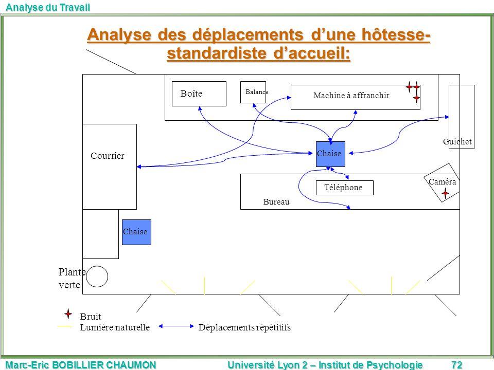 Marc-Eric BOBILLIER CHAUMON Université Lyon 2 – Institut de Psychologie72 Analyse du Travail Analyse des déplacements dune hôtesse- standardiste daccu