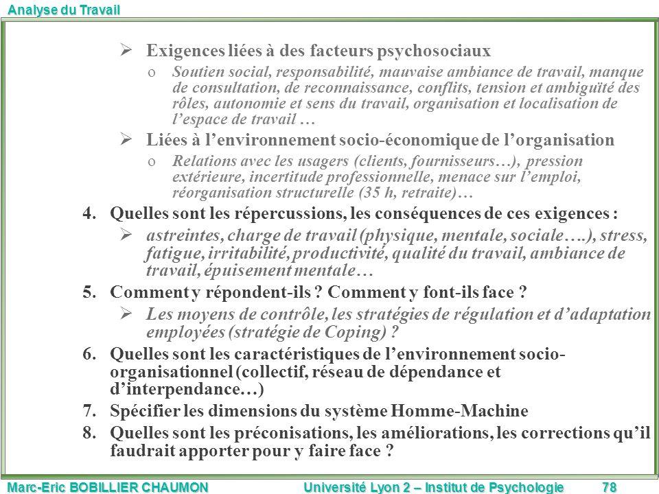 Marc-Eric BOBILLIER CHAUMON Université Lyon 2 – Institut de Psychologie78 Analyse du Travail Exigences liées à des facteurs psychosociaux oSoutien soc