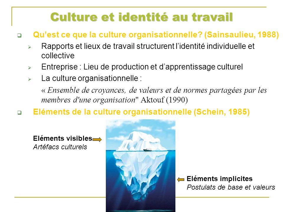 Culture et identité au travail Eléments de la culture organisationnelle (Schein, 1985) Les postulats de base Réalités inconscientes, vérités admises et partagées par tous les membres de l organisation.