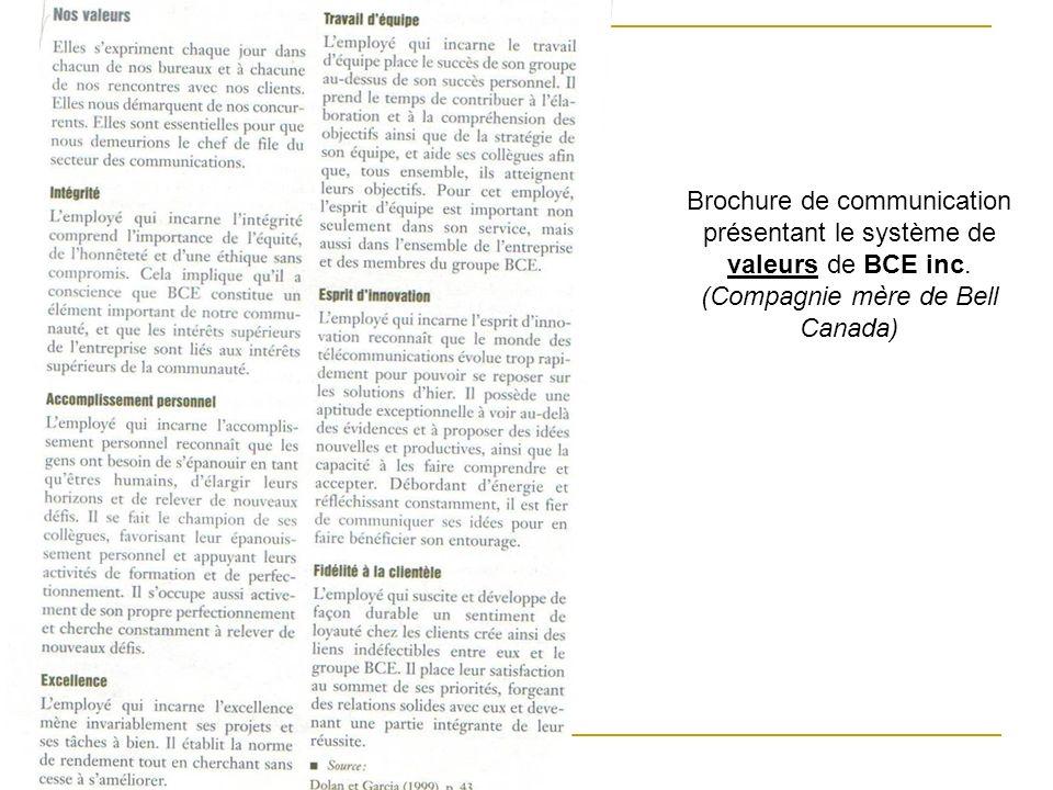Brochure de communication présentant le système de valeurs de BCE inc. (Compagnie mère de Bell Canada)