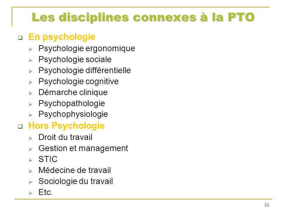Les disciplines connexes à la PTO En psychologie Psychologie ergonomique Psychologie sociale Psychologie différentielle Psychologie cognitive Démarche