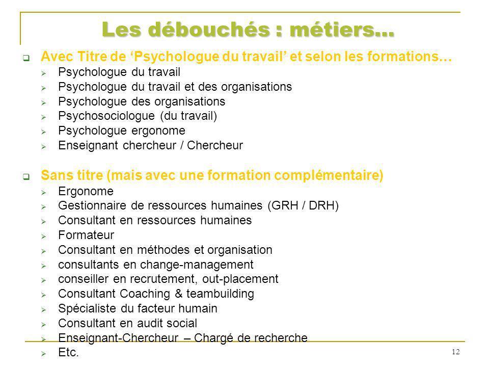 Les débouchés : métiers… Avec Titre de Psychologue du travail et selon les formations… Psychologue du travail Psychologue du travail et des organisati