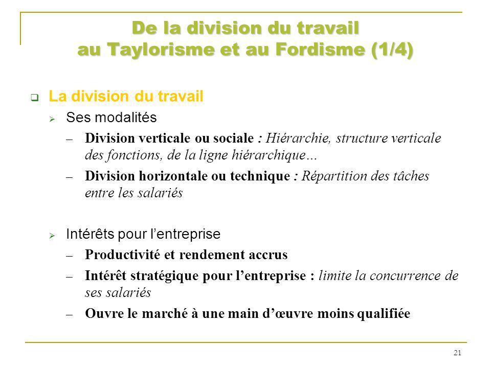 De la division du travail au Taylorisme et au Fordisme (1/4) La division du travail Ses modalités Division verticale ou sociale : Hiérarchie, structur