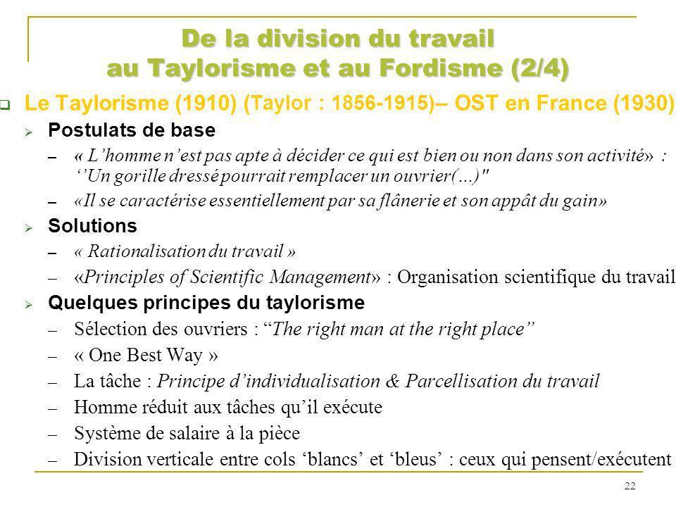 De la division du travail au Taylorisme et au Fordisme (2/4) Le Taylorisme (1910) ( Taylor : 1856-1915) – OST en France (1930) Postulats de base « Lho
