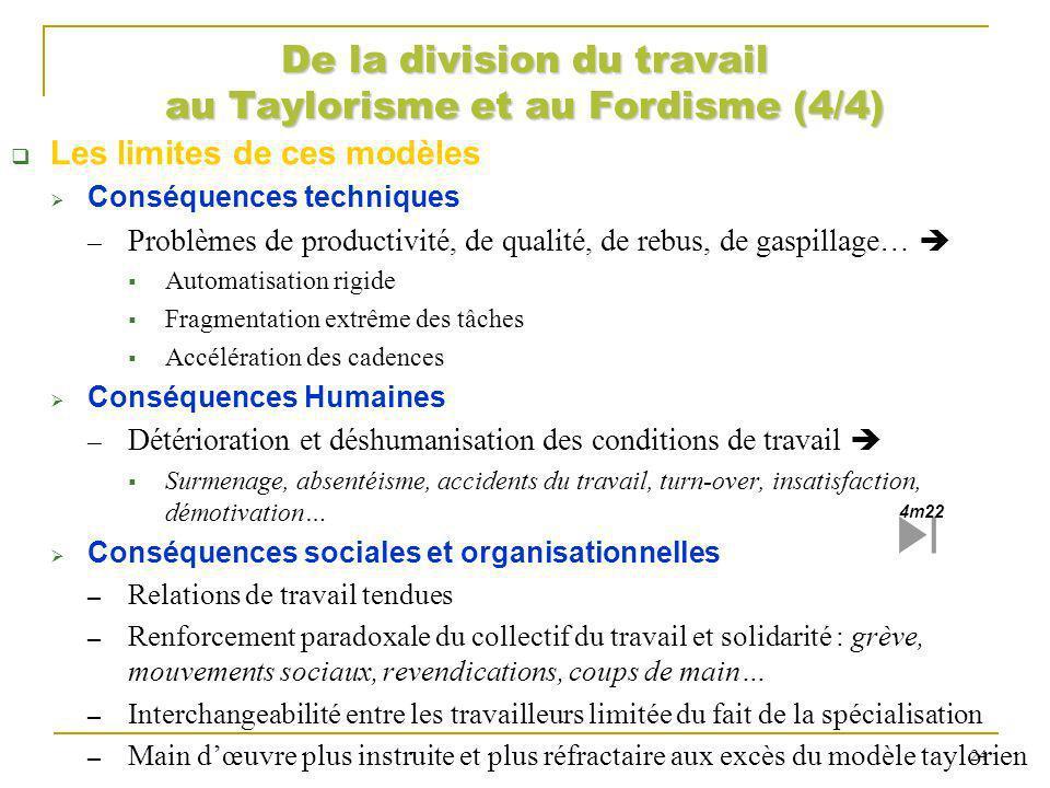 De la division du travail au Taylorisme et au Fordisme (4/4) Les limites de ces modèles Conséquences techniques Problèmes de productivité, de qualité,