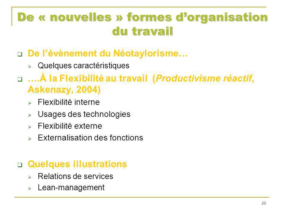 De « nouvelles » formes dorganisation du travail De lévènement du Néotaylorisme… Quelques caractéristiques ….À la Flexibilité au travail (Productivism