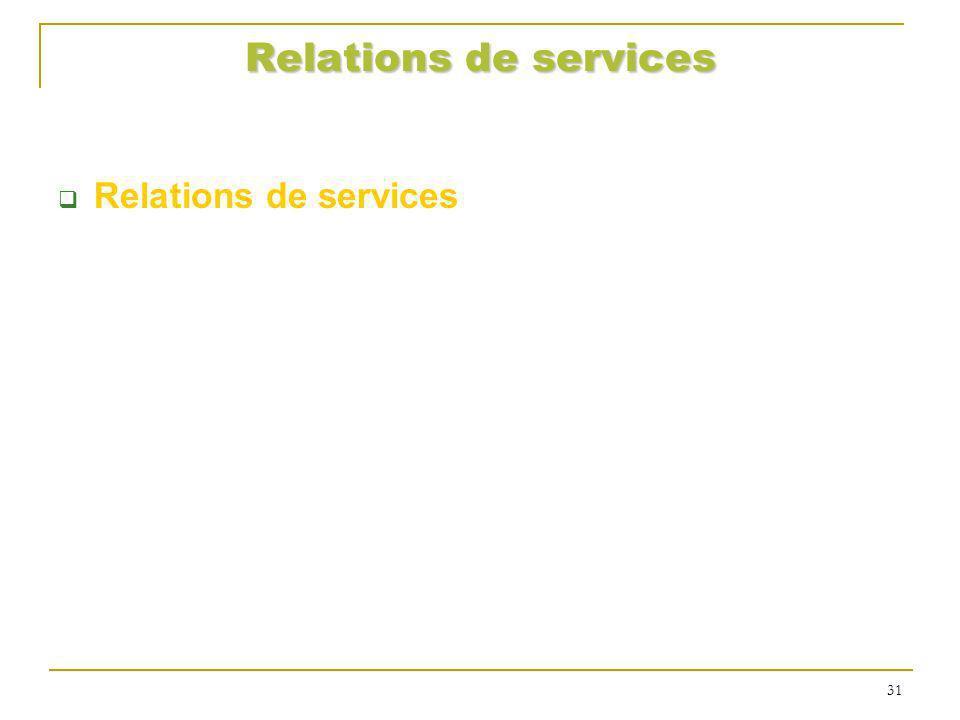 Relations de services 31