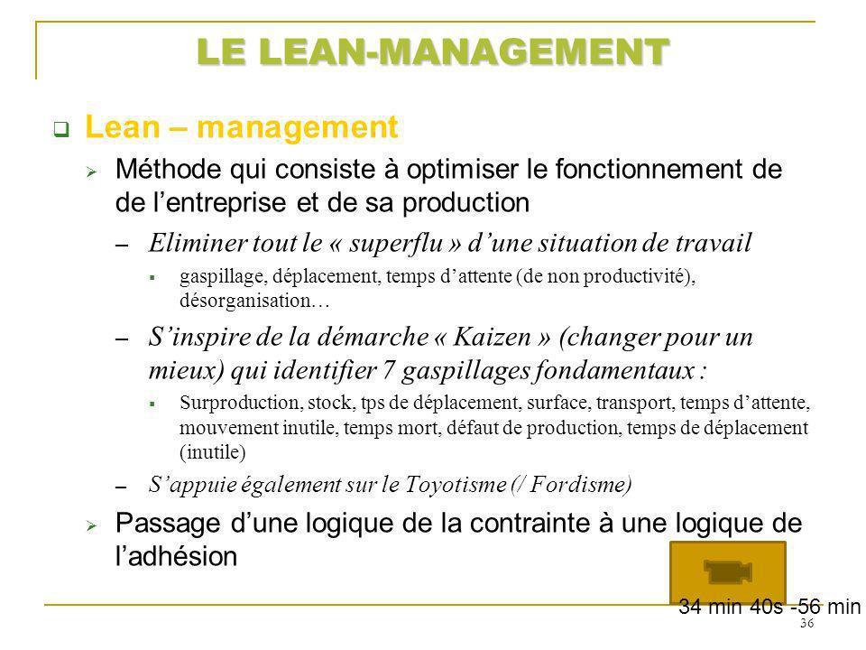 LE LEAN-MANAGEMENT Lean – management Méthode qui consiste à optimiser le fonctionnement de de lentreprise et de sa production Eliminer tout le « super