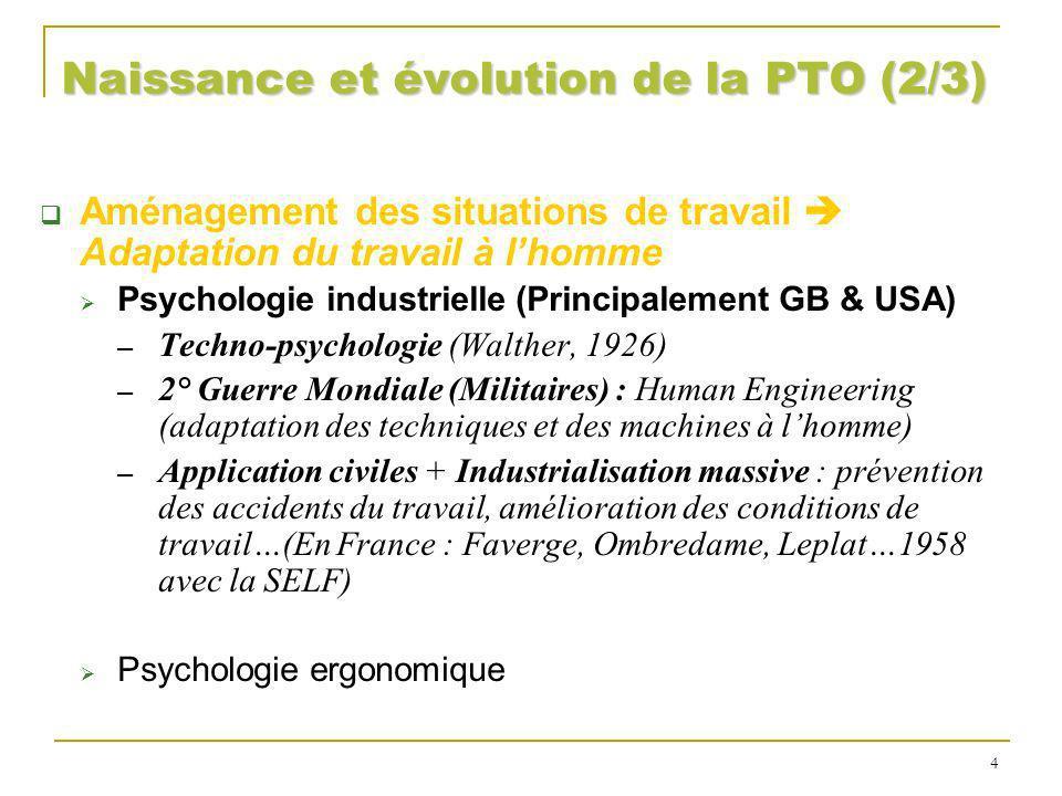 Naissance et évolution de la PTO (2/3) Aménagement des situations de travail Adaptation du travail à lhomme Psychologie industrielle (Principalement G