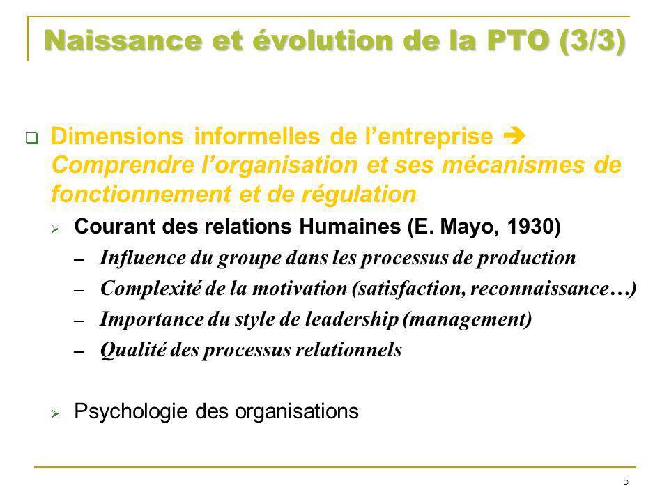 Naissance et évolution de la PTO (3/3) Dimensions informelles de lentreprise Comprendre lorganisation et ses mécanismes de fonctionnement et de régula
