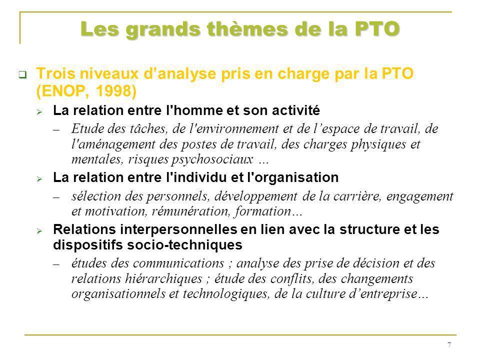 Les grands thèmes de la PTO Trois niveaux danalyse pris en charge par la PTO (ENOP, 1998) La relation entre l'homme et son activité Etude des tâches,