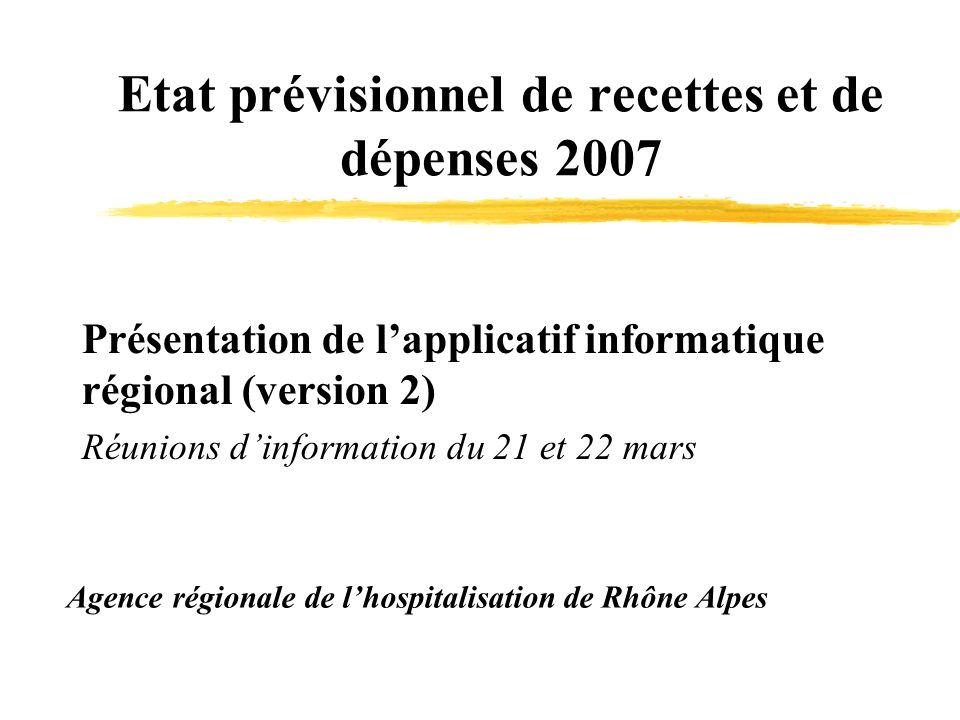 Etat prévisionnel de recettes et de dépenses 2007 Agence régionale de lhospitalisation de Rhône Alpes Présentation de lapplicatif informatique régional (version 2) Réunions dinformation du 21 et 22 mars