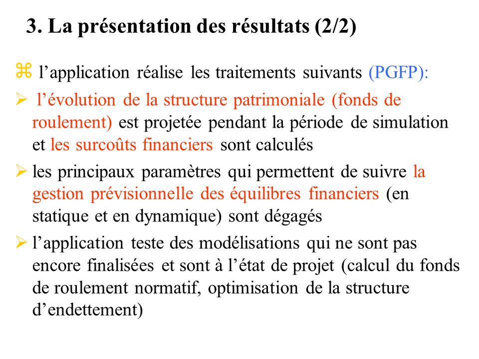 3. La présentation des résultats (2/2) z lapplication réalise les traitements suivants (PGFP): lévolution de la structure patrimoniale (fonds de roule
