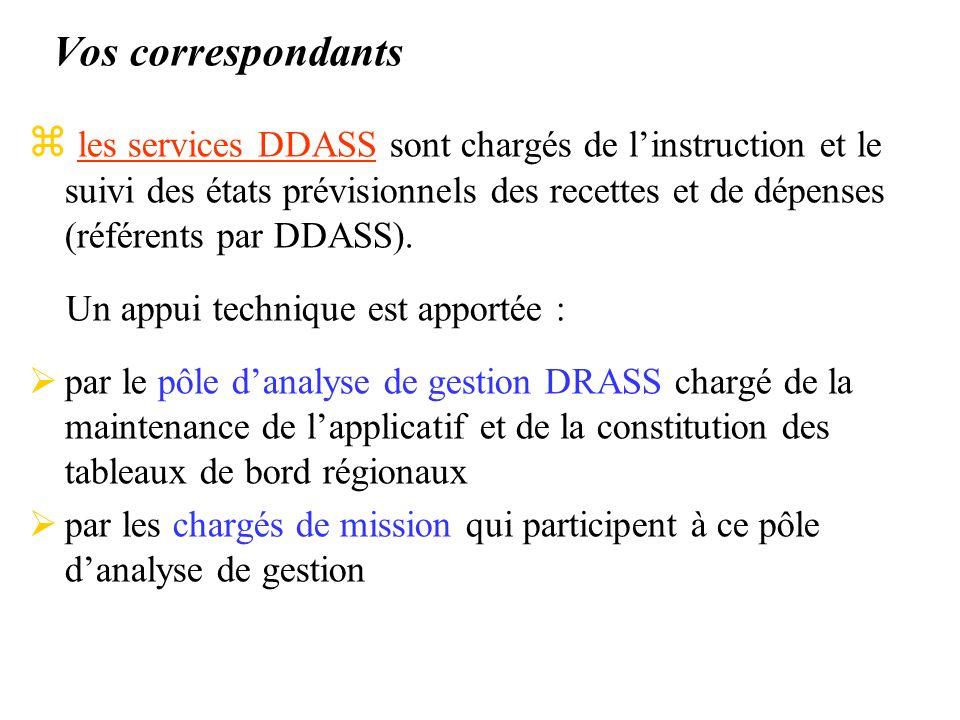 Vos correspondants z les services DDASS sont chargés de linstruction et le suivi des états prévisionnels des recettes et de dépenses (référents par DDASS).