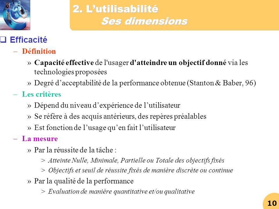 10 2. Lutilisabilité Ses dimensions Efficacité –Définition »Capacité effective de l'usager d'atteindre un objectif donné via les technologies proposée