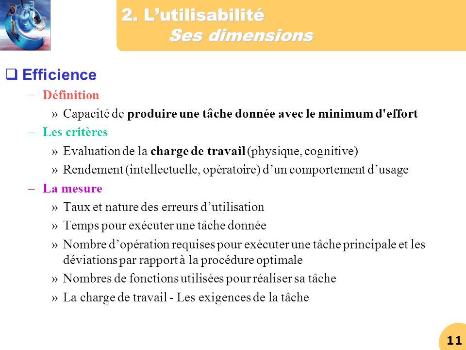 11 2. Lutilisabilité Ses dimensions Efficience –Définition »Capacité de produire une tâche donnée avec le minimum d'effort –Les critères »Evaluation d