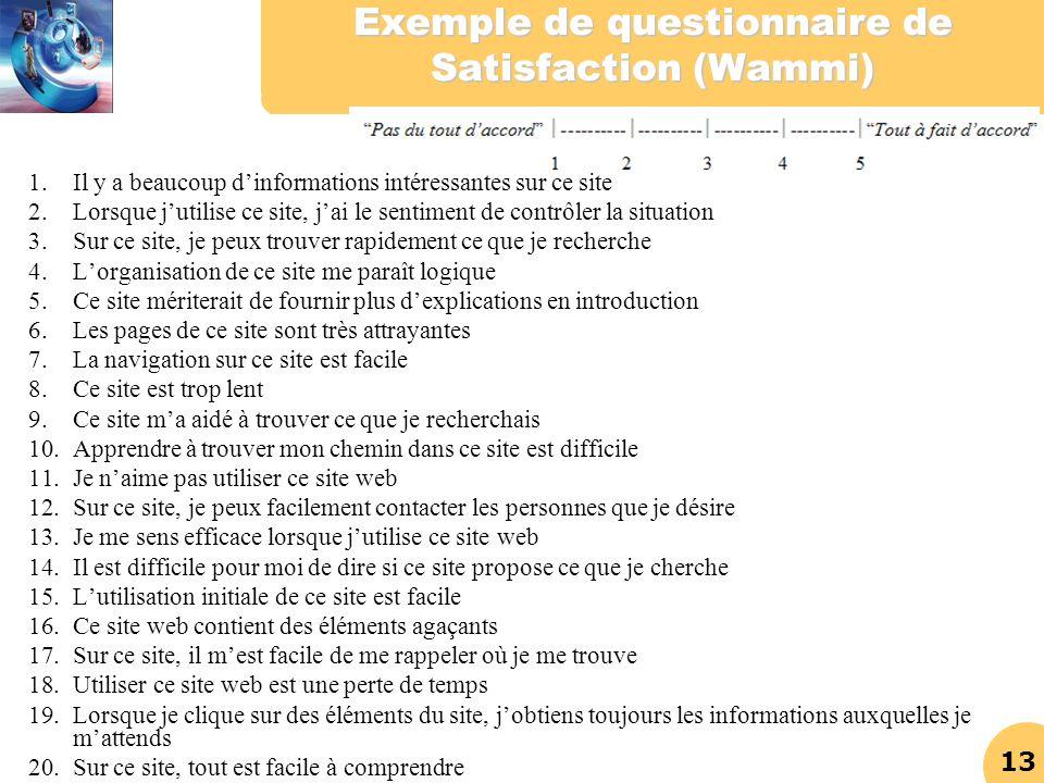 13 Exemple de questionnaire de Satisfaction (Wammi) 1.Il y a beaucoup dinformations intéressantes sur ce site 2.Lorsque jutilise ce site, jai le senti