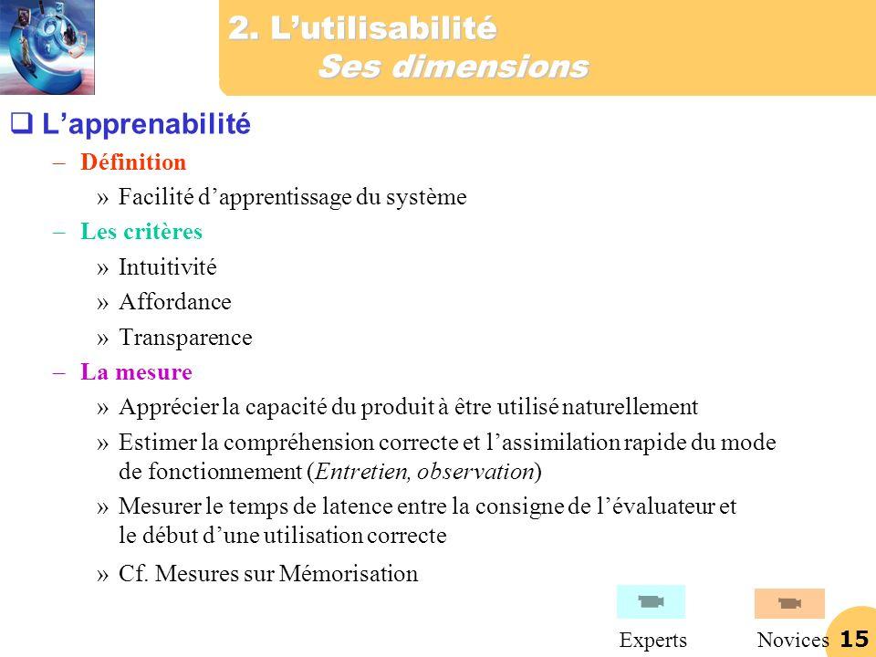 15 2. Lutilisabilité Ses dimensions Lapprenabilité –Définition »Facilité dapprentissage du système –Les critères »Intuitivité »Affordance »Transparenc