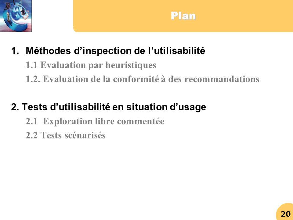 20Plan 1.Méthodes dinspection de lutilisabilité 1.1 Evaluation par heuristiques 1.2. Evaluation de la conformité à des recommandations 2. Tests dutili