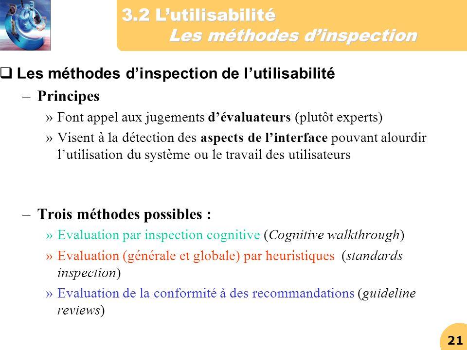 21 Les méthodes dinspection de lutilisabilité –Principes »Font appel aux jugements dévaluateurs (plutôt experts) »Visent à la détection des aspects de