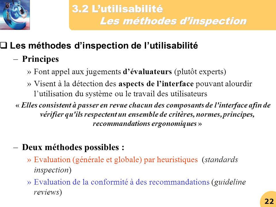 22 Les méthodes dinspection de lutilisabilité –Principes »Font appel aux jugements dévaluateurs (plutôt experts) »Visent à la détection des aspects de