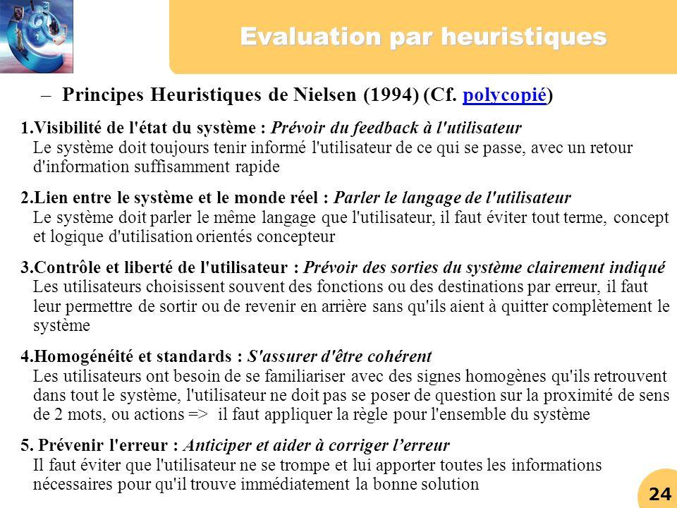 24 Evaluation par heuristiques 1.Visibilité de l'état du système : Prévoir du feedback à l'utilisateur Le système doit toujours tenir informé l'utilis