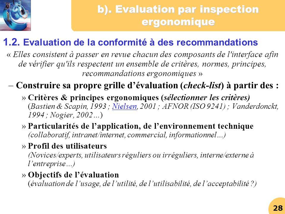 28 b). Evaluation par inspection ergonomique 1.2. Evaluation de la conformité à des recommandations « Elles consistent à passer en revue chacun des co
