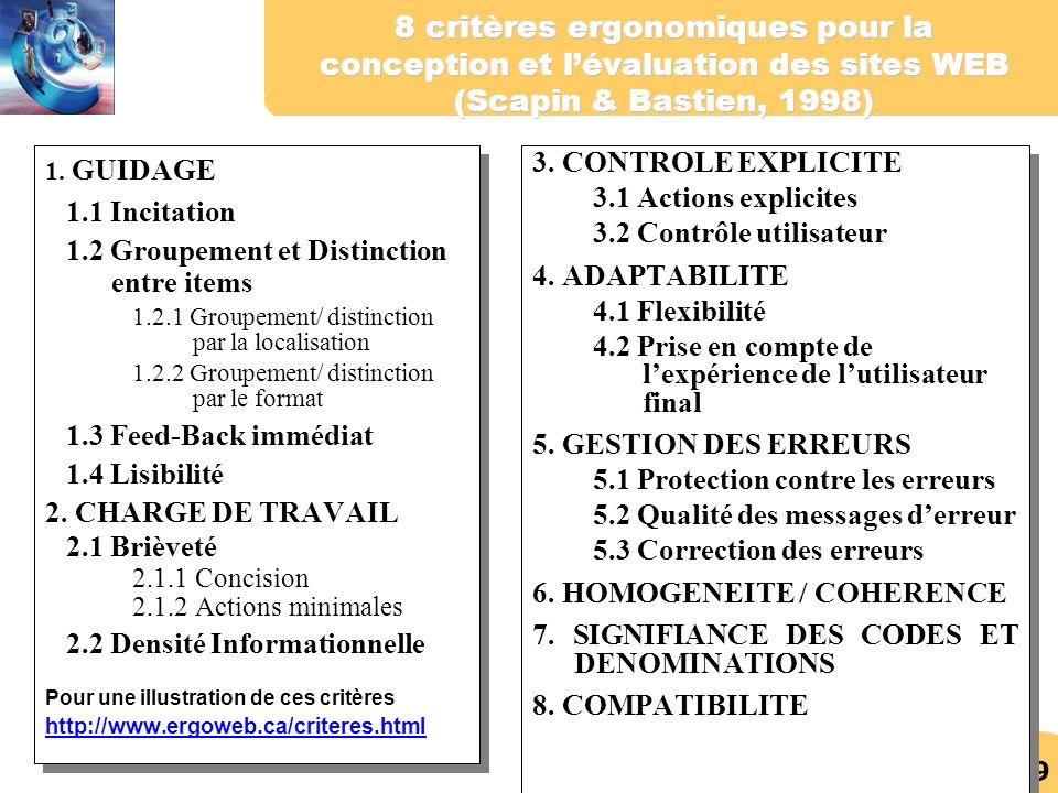 29 8 critères ergonomiques pour la conception et lévaluation des sites WEB (Scapin & Bastien, 1998) 1. GUIDAGE 1.1 Incitation 1.2 Groupement et Distin