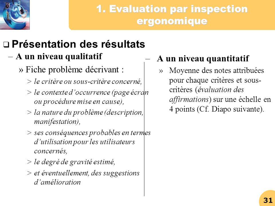 31 1. Evaluation par inspection ergonomique – A un niveau qualitatif » Fiche problème décrivant : >le critère ou sous-critère concerné, >le contexte d